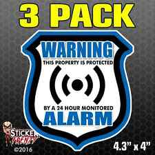 3 Pk WARNING ALARM Shield BLUE Stickers Video Security System Vinyl Decal FS035