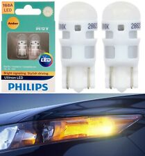 Philips Ultinon LED Light 168 Amber Two Bulbs License Plate Tag Replace OE Show