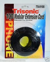100FT RJ11 MODULAR TELEPHONE EXTENSION CORD WIRE LINE CABLE BLACK