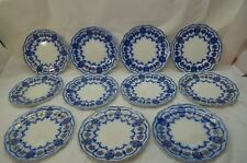 ANTIQUE FLOW BLUE CHINA DESSERT PLATES JOHNSON BROTHERS ECLIPSE SET 11 7in