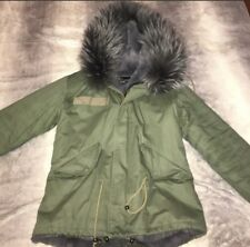 Army Green Parka With Gray Racoon Fur Hood