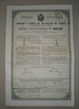 """TURQUIE EMPIRE OTTOMAN 1872 OBLIGATION AU PORTEUR DE 400 FRANCS """"RARE"""""""
