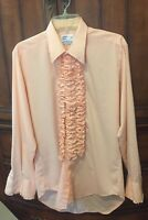 Vintage Peach/Pink Ruffled Tuxedo Shirt After 6 M4