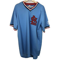 Vintage St. Louis Cardinals Retro Blue Pullover MLB Baseball Jersey Mens XL
