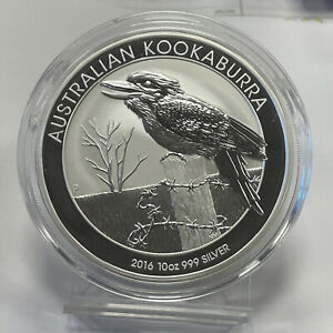 2016 Australian 10oz .999 Fine Silver Kookaburra Perth Mint Silver Coin In Cap