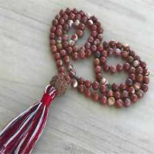 8mm Natural mala Rhodochrosite 108 knot beads Necklace Energy Seven Chakras