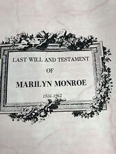 Marilyn Monroe Last Will And Testament Special Collectors Copy