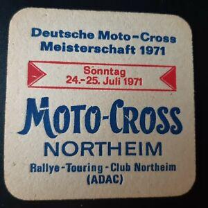 alter Bierdeckel Brauerei Northeim Motocross ADAC 1971