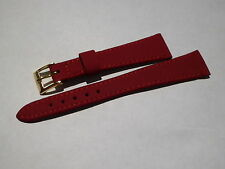 Ancien Stock Vintage Revue Thommen Rouge Brossé Bracelet Montre Cuir 16 MM