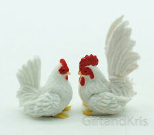 Clay Animal Figurine Miniature 2 Rooster Hen Cock - CH075