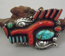 IMPORTANT Lg Vntg Zuni ROMANCITO Pin / Brooch Sterling Branch Coral Turquoise