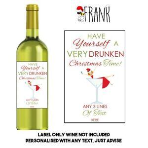 Personalised Funny/sarcastic/cute/rude CHRISTMAS WINE LABEL secret Santa gift