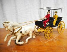 American Cast Iron Toy  2 Horse Drawn Surrey with Driver & Passenger