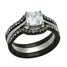 1.85Ct  Black Stainless Steel 3 PCS Wedding/Engagement Ring Set Women's SZ 5-11