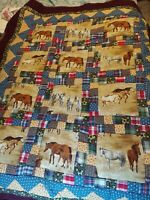 """Horse Theme Quilt 38"""" By 48"""" Lap Or Wall Art Size flannel backed"""