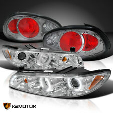 97-03 Grand Prix Chrome Dual Halo LED Projector Headlights+Smoke Tail Lamps