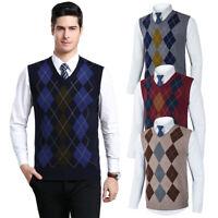 Mens Knitted Tank Top Argyle Sleeveless Pullover Golf Sweater Vest V-Neck Jumper