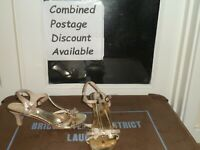 BLOX Strappy Gold High Heels Shoes Size 6