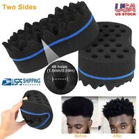 Unisex Double Sided Barber Sponge Hair Brush for Afro Twists Curls Waves Braids