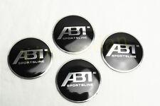 4PCS CAR BLACK NEW ABT ALUMINUM AUTO WHEEL CENTER CAPS STICKER EMBLEM HUBS CAPS
