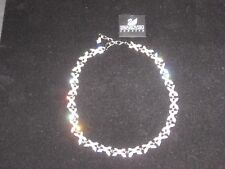 "SWAROVSKI ALL-AROUND NECKLACE PAVE SILVER LINK FAUX PEARLS 15"" SIGNED RARE NEW!"
