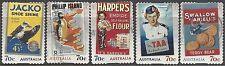 Australia 2014 NOSTALGIC ADVERTISEMENTS (5) Peel&Stick Fine Used (M190b)