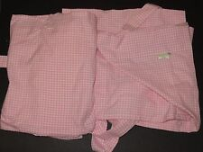 "SET/2 Pottery Barn Kids Ribbon Tie Gingham Panel Drape Shades 26"" x 63"" Pink NEW"
