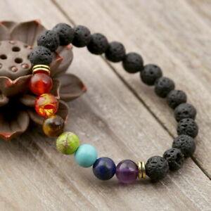 Chakra Regenbogen Armband Mehrfarbig Lava Natur Beads Bunt Stein Yoga Unisex NEU