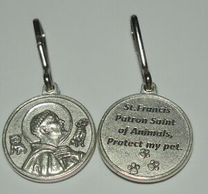 """NEW Large 1"""" Round St Francis of Assisi Pet Collar with Clip """"Protect my pet"""""""
