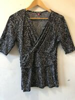 vince camuto Womens Medium  Black Blouse Tops  V Neck EUC