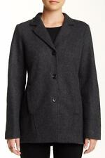 NWT Eileen Fisher $298  L Notch Collar Jacket in Felted Wool Doubleknit Charcoal