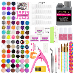 Pro Acrylic Powder Nail Art Tool Nail Full Kit Glitter Sticker DIY Set Brush UK