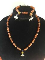 Amber Toned Beaded Cat Necklace With Matching bracelet