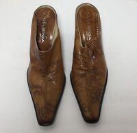 Via Spiga Womens Mules Brown Floral Block Heels Split Toe Slip On Leather 8.5 M