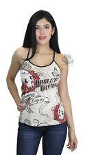 Womens Harley-Davidson Rose Skull Racer Back String Ivory Sleeveless Tank L