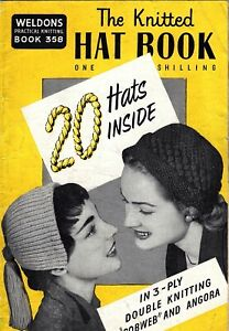 50s vintage Knitted Hat Book - knitting knit fashion hats bonnet turban cap