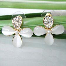 Lucky Clovers Leaves 18K Rose GP Opal Clear Crystal Ear Stud Earrings BH1532