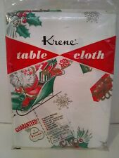 Vintage Christmas plastic tablecloth NOS 1950s Great design 54x54 #7 of 10