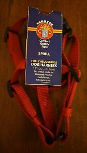 """Hamilton Fully Adjustable Red Small Dog Harness Comfort Quality 12""""-20"""" New"""