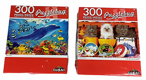 2 Puzzlebug Jigsaw Puzzles 3 Little Kittens Dolphin Delight 300 Pcs COMPLETE NUC