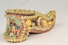 Vintage Antique Paper Mache / Cardboard Shell Encrusted Shoe ~ RARE