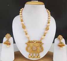 Indian Ethnic Pearl har Beaded Mala Golden Necklace Earrings Wedding Jewelry set