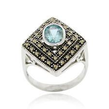 925 Silver Blue Topaz & Marcasite Diamond Shape Ring Size 9