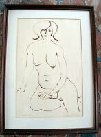 Original Female Nude Drawing by Sidney Simon, Signed, Fine Art