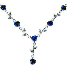 w Swarovski Crystal Royal Blue Rose Flower Floral Bride Wedding Necklace Jewelry
