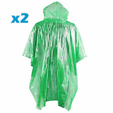 Waterproof Rain Poncho Camping Festival Emergency Pocket Disposable Raincoat x2