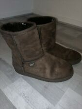 Womens JUST Brown Suede Sheepskin Ankle Boot Size UK 6 EU 39