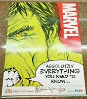 Marvel Absolutely Everything You Need to Know Incredible Hulk Poster SIGNED by 3