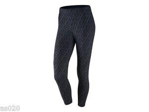Womens Nike Club AOP All Over Print Gym Sports  Cropped Leggings Charcoal  Black