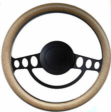 Hot Rod or Street Rod Nostalgia Tan & PBK Billet Steering Wheel, Horn & Adapter